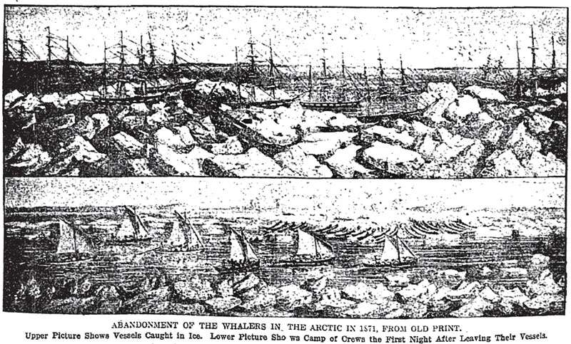 The 1871 Whaling Disaster. From an old print published in the boston Globe, April 15, 1911.