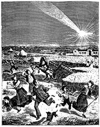 A fanciful contemporary woodblock print of the Weston meteorite.