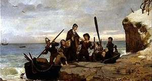 The Landing of the Pilgrims, by Henry A. Bacon, 1877. Thomas Faunce recalled the location of Plymouth Rock in 1741, establishing it forever as a national landmark.