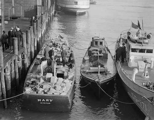 Liquor confiscated from rum runners in Dorchester Bay, 1932. Photo Courtesy Boston Public Library, Leslie Jones Collection.