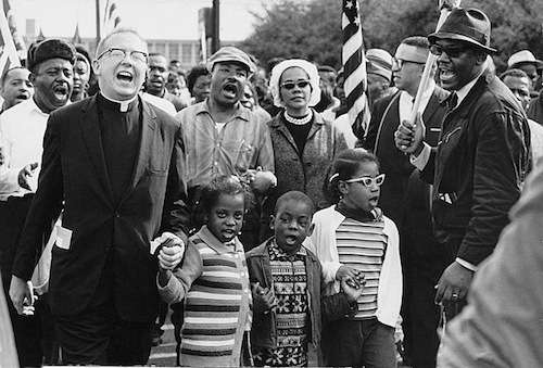 Martin Luther King and his family arrive in Montgomery from Selma, March 1965