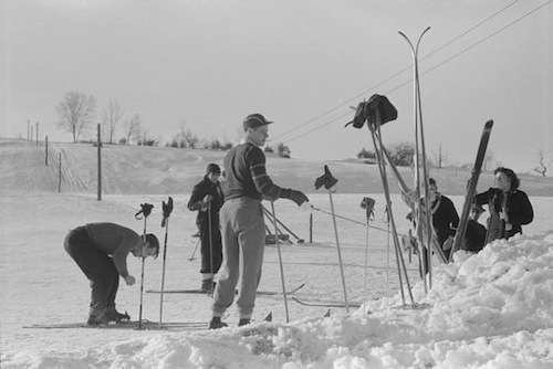 Skiing at Dickinson's farm, March 1939.