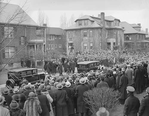 Crowds watching the funeral procession in Brookline. Photo courtesy Boston Public Library, Leslie Jones Collection.