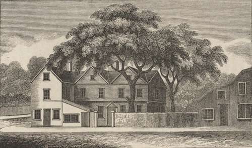 Illustration of The Liberty Tree in Boston, 1825. From A History of Boston, the metropolis of Massachusetts, from its origin to the present period, by Caleb H. Snow.