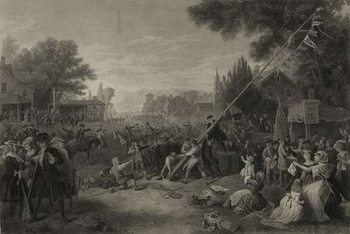 """""""Raising the liberty pole,"""" 1776 / painted by F.A. Chapman ; engraved by John C. McRae, N.Y. Photo courtesy Library of Congress."""