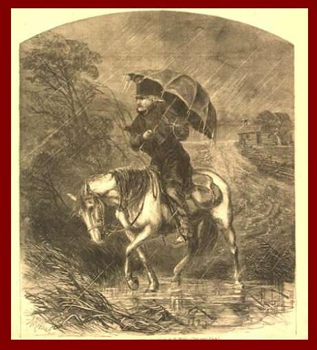 Methodist circuit riders, like this one seen in a Harper's Weekly illustration, traveling New England delivering fiery and passionate sermons built the church by converting men like Sam Smith to the church and then moving on, leaving the new converts to spread the word.
