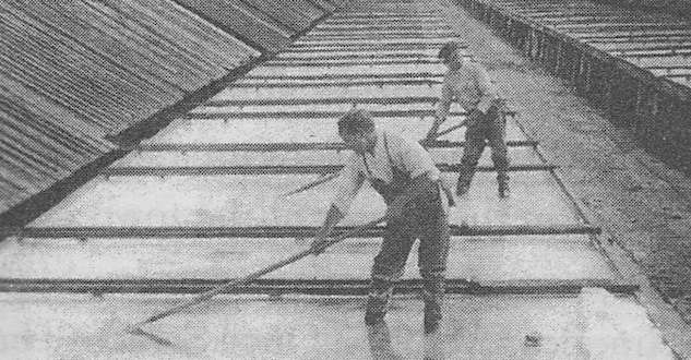 Onondaga saltworks showing salt being raked from solar evaporation vats of a design copied from the Cape Cod saltworks.