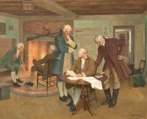 John Adams, Samuel Adams, and James Bowdoin drafting the Massachusetts Constitution of 1780 in this painting by Albert Herter, which hangs in the Massachusetts Statehouse.