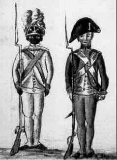 Continental soldiers at Yorktowns; on the left, an African American soldier of the 1st Rhode Island Regiment
