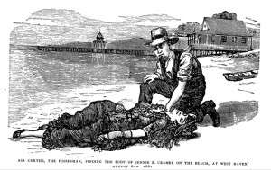 Illustration of the discovery of Jennie Cramer from The Beautiful Victim of Elm City