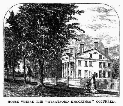 Illustration from an article about the Stratford knockings in Lippincott's Monthly Magazine