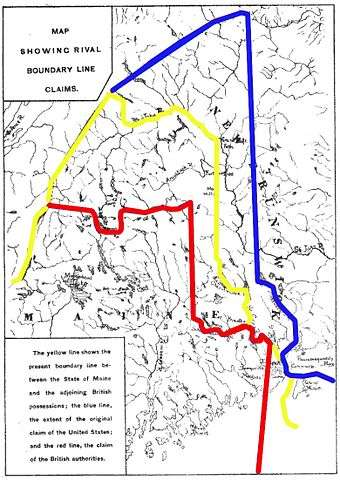 Map of the disputed territory. The blue line represents the American claim, the red the British and the yellow the final boundary.