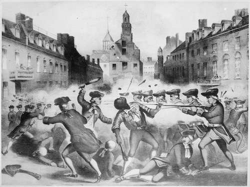 19th-century lithograph of the Boston Massacre, emphasizing Crispus Attucks