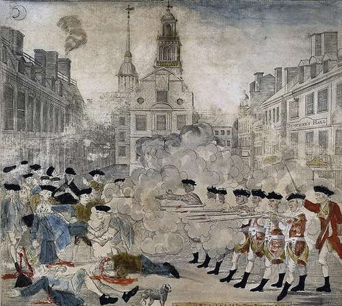 Paul Revere's famous engraving of the Boston massacre.