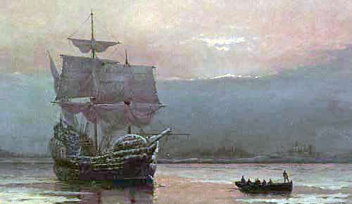 The Mayflower in Plymouth Harbor by William Halsall.