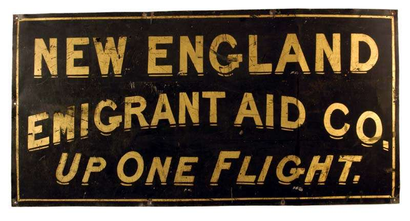 hannah ropes new england emigrant aid society sign