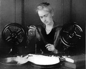 Hettie Gray Baker editing film.