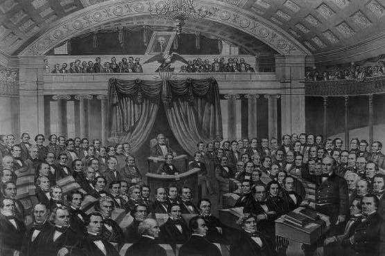 Daniel Webster (lower right) addressing the U.S. Senate on the Seventh of March. Image courtesy Library of Congress.