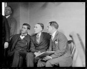 Gerald Chapman with his attorneys. Photo courtesy Boston Public Library, Leslie Jones Collection.