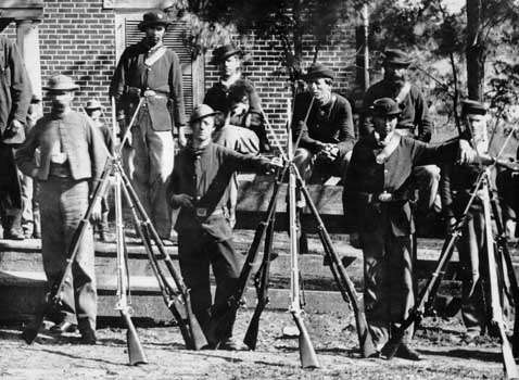 Union troops outside the McLean house.