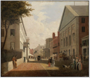 Tremont Street, 1843. Tremont Theater on the right.