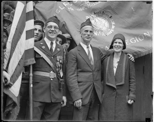 DeMar and wife at the Melroase, Mass., American Legion post. Photo courtesy Boston Public Library, Leslie Jones Collection.