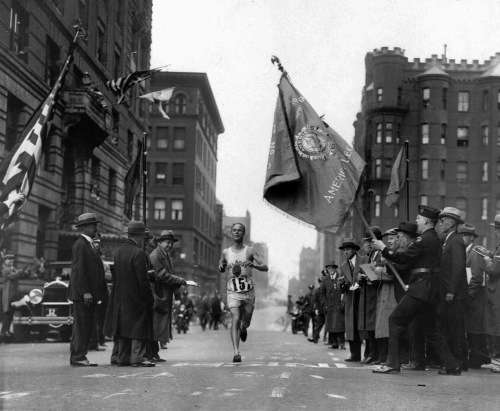Clarence DeMar wins the Boston Marathon. Again. Photo courtesy Boston Public Library, Leslie Jones Collection.