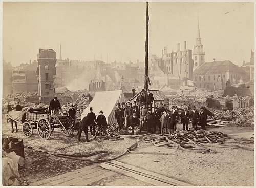 After the Great Fire. The Old South Meeting House is in the background. Photo courtesy Boston Public Library.