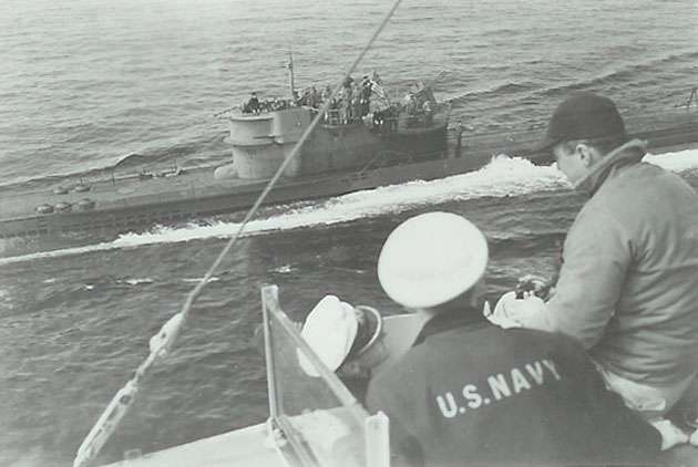 U-234 surrendering to the USS Sutton.