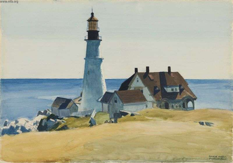 edward hopper lighthouse-and-buildings-portland-head-cape-elizabeth-maine-1927