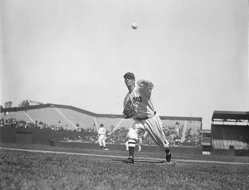 Lefty Grove pitching. Photo courtesy Boston Public Library, Leslie Jones Collection.