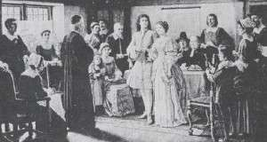 New England Wedding customs and superstitions in the 1700s were a mix of home-grown ideas and practices imported mainly from Britai