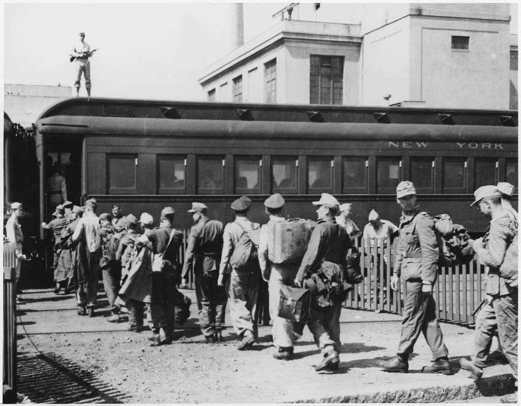 German POWs boarding a train in Boston