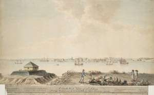 1790 watercolor showing Fort St. Jean in the background.