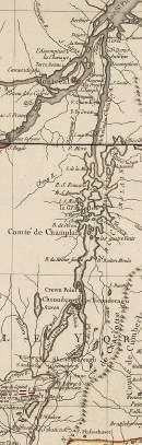 1775 map of Lake Champlain and upper Hudson River