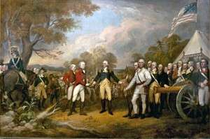 General Burgoyne surrendering at Saratoga by John Trumbull.
