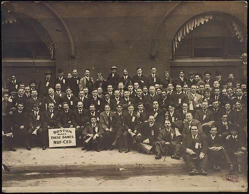 The Royal Rooters in New York, 1904. Photo courtesy Boston Public Library.
