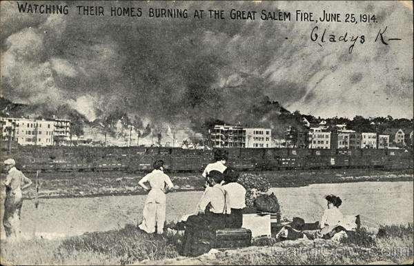 Watching Their Homes Burn at the Great Salem Fire, June 25, 1914.