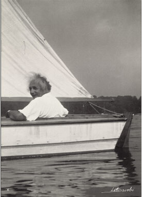 Albert Einstein sailing in New York. (Photo from Cornell Library.)