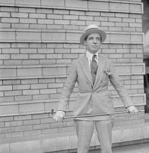 Ponzi with his gold-handled cane. Photo courtesy Boston Public Library, Leslie Jones Collection.