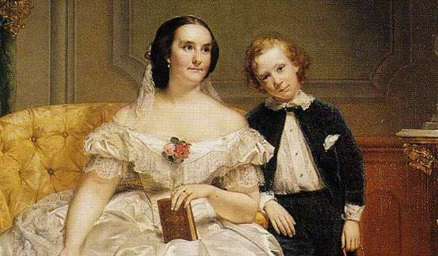 Elizabeth Jarvis Colt and her only surviving son Caldwell, by Charles Loring Elliot (detail).