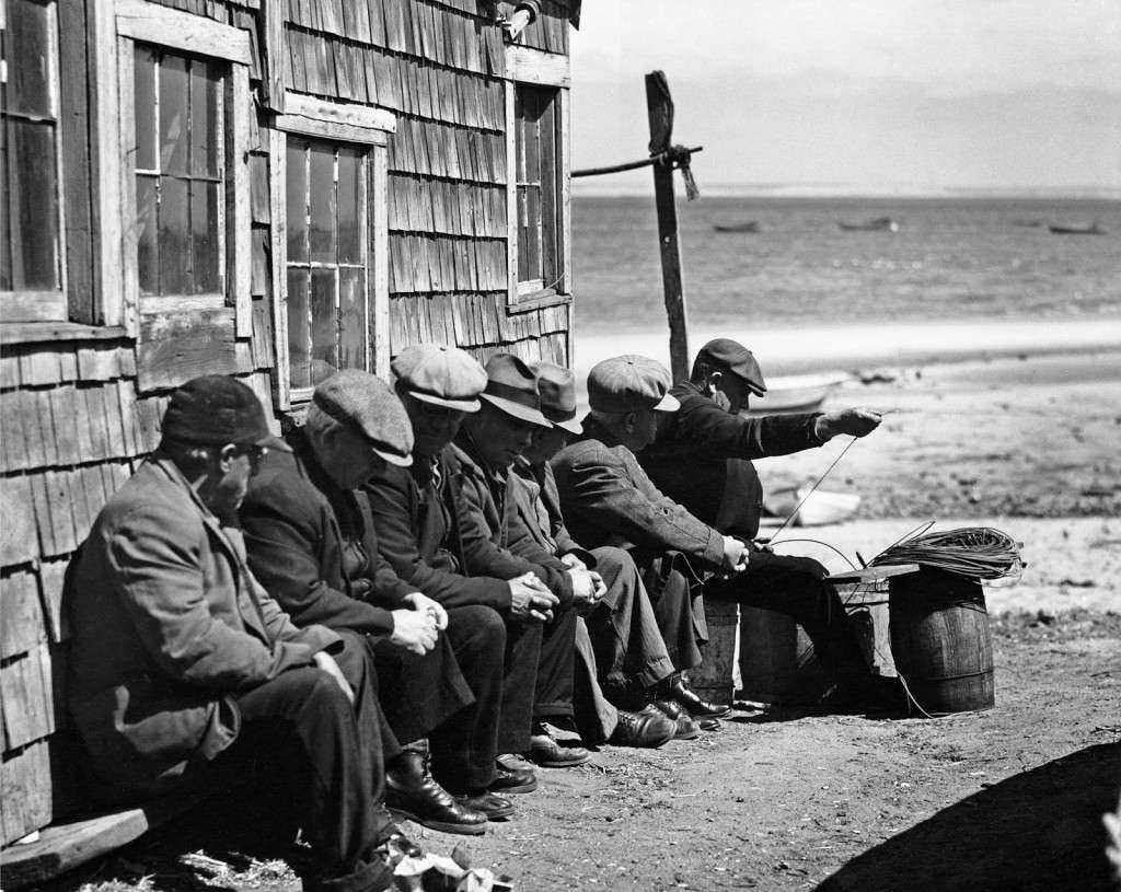 Portuguese dory fisherman gossiping in the sun, Provincetown 1942. Photo courtesy Library of Congress.