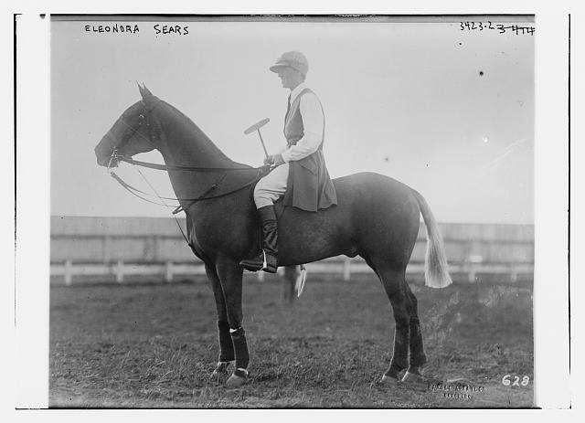 Eleonora Sears astride her polo pony. Photo courtesy Library of Congress.