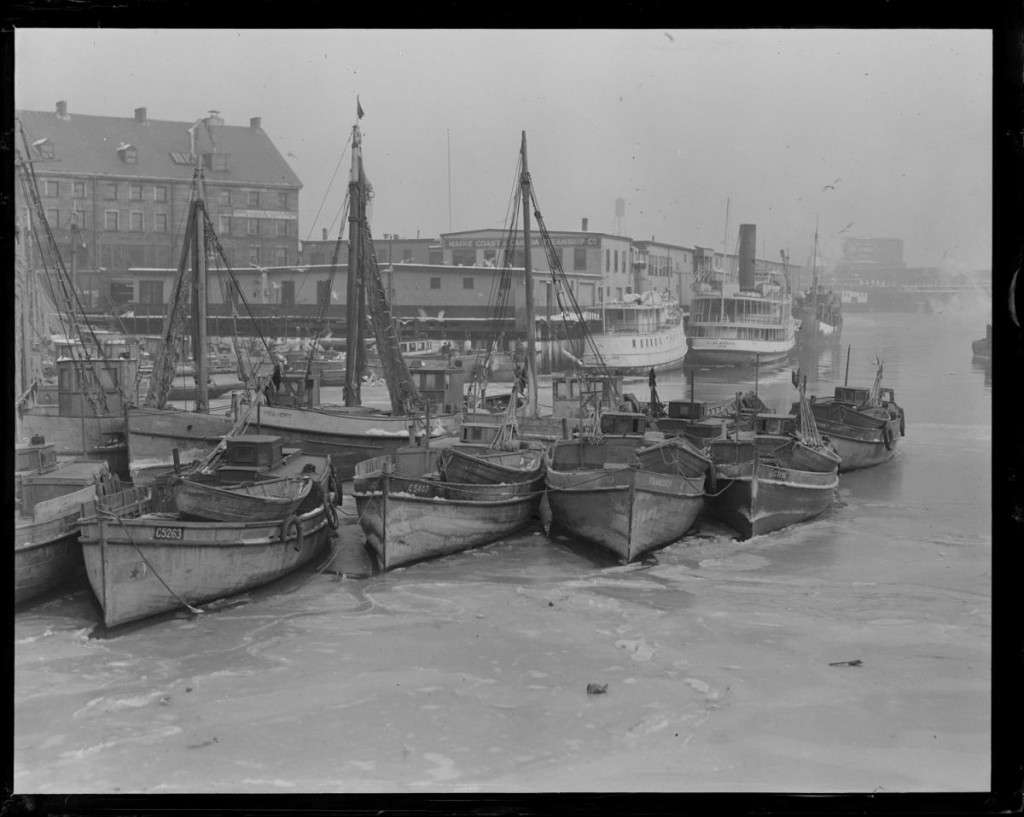 The Italian fishing fleet in Boston. Photo courtesy Boston Public Library, Leslie Jones Collection.
