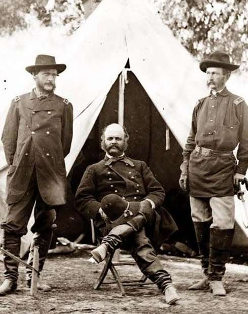 Burnside with his staff from the 1st Rhode Island Regiment