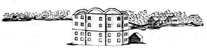 """What might have been: Contemporary sketch of the first American fort at Rouses Point, Fort """"Blunder."""" Robert Bouchette, 1818. Library and Archives Canada."""