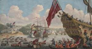 View of the English landing on the island of Cape Breton to attack the fortress of Louisbourg. 1745.