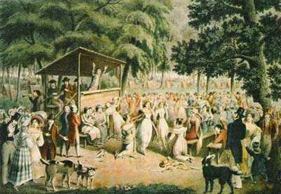 A revival meeting during the Second Great Awakening.