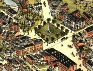 Bird's-eye view of the Taunton Green in 1875