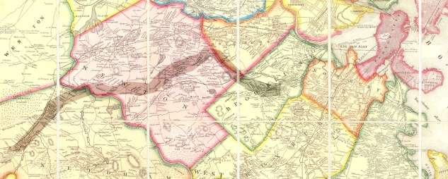 1852 map of the Cochituate Aqueduct